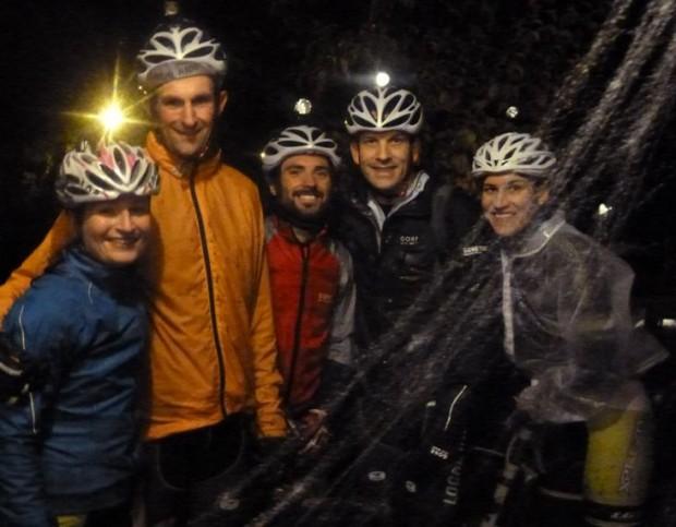 Spooky, wet Halloween night MTB ride (l-r): Me, Ryan, Rich, Paul, Jean Ann.