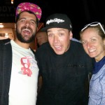 Partying with cycling celebrities - Julien from Orbea, Rob Warner, and Catharine.