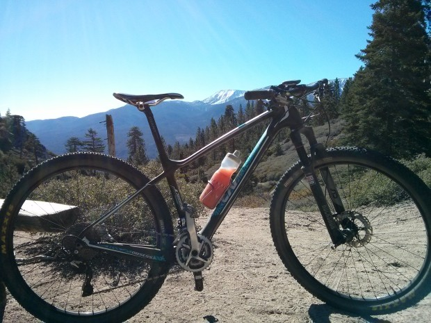 My Obsess enjoying the view from one of the many fun MTB trails (Skyline, I believe) in Big Bear Lake.