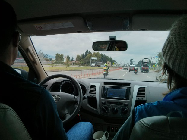Driving to the race.