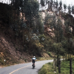 Climbing a Colombian road.